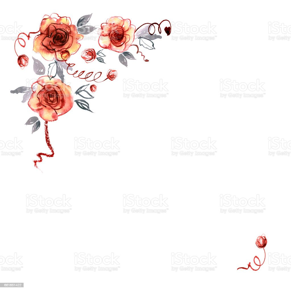 Cute watercolor hand painted corner with orange roses vector art illustration