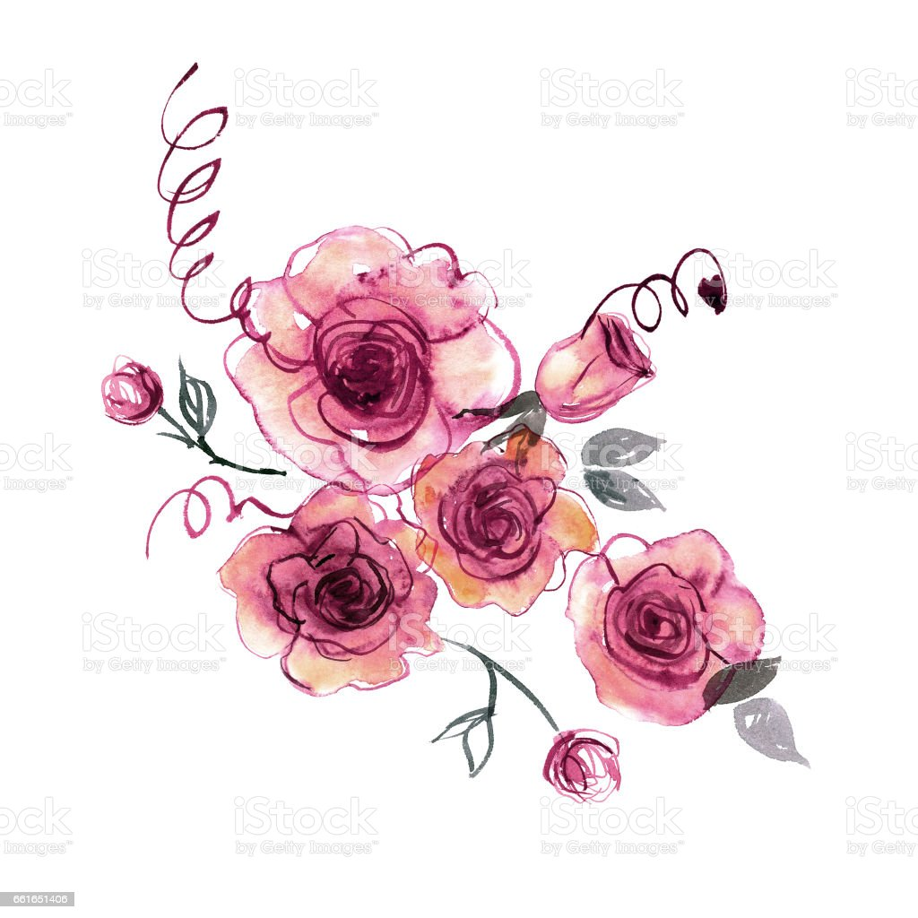 Cute watercolor hand painted pink roses vector art illustration