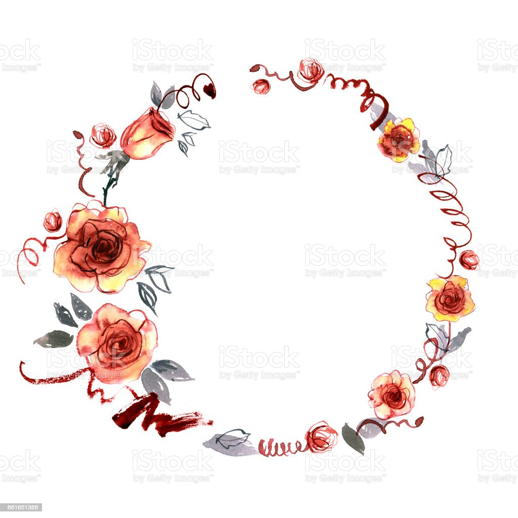 Cute watercolor hand painted round frame with orange roses vector art illustration