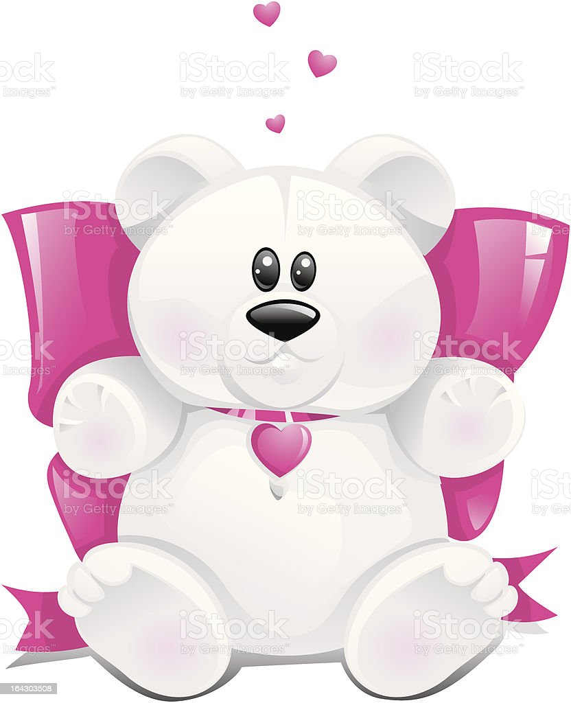 Cute white teddy bear with hearts royalty-free stock vector art