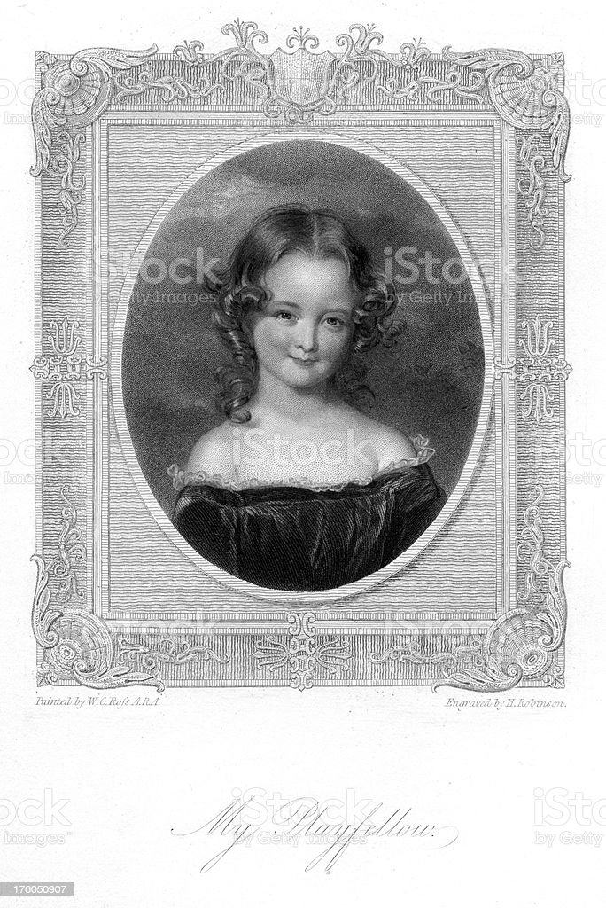 Cute young victorian girl - My playfellow vector art illustration