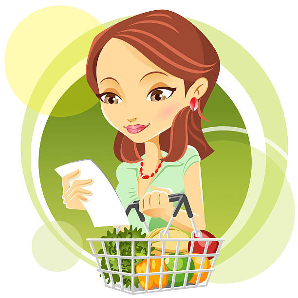 cute young woman grocery shopping vector art illustration