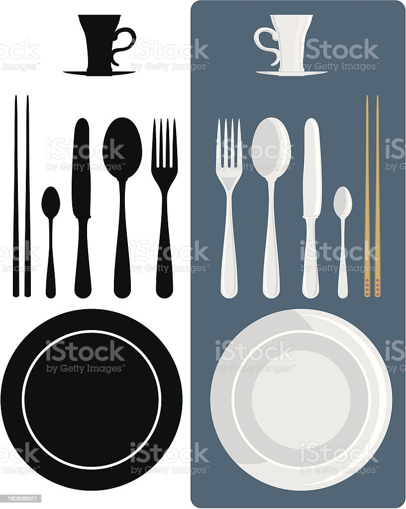 Cutlery icons. Fork, knife, spoon and coffee royalty-free stock vector art
