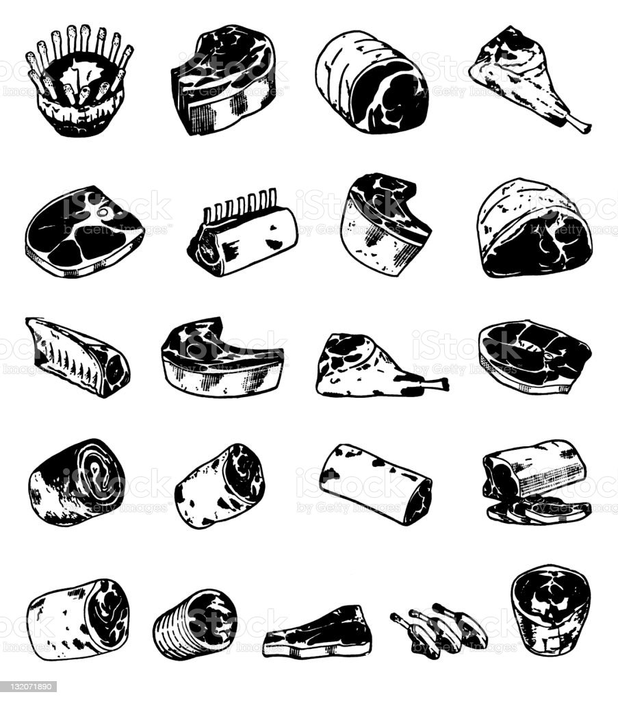 Cuts of Meat royalty-free stock vector art