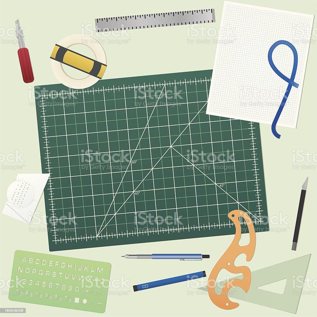 Cutting Mat and tools vector art illustration