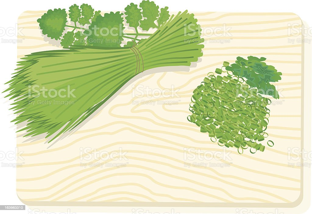 cuttingboard with chive and parsley. royalty-free stock vector art