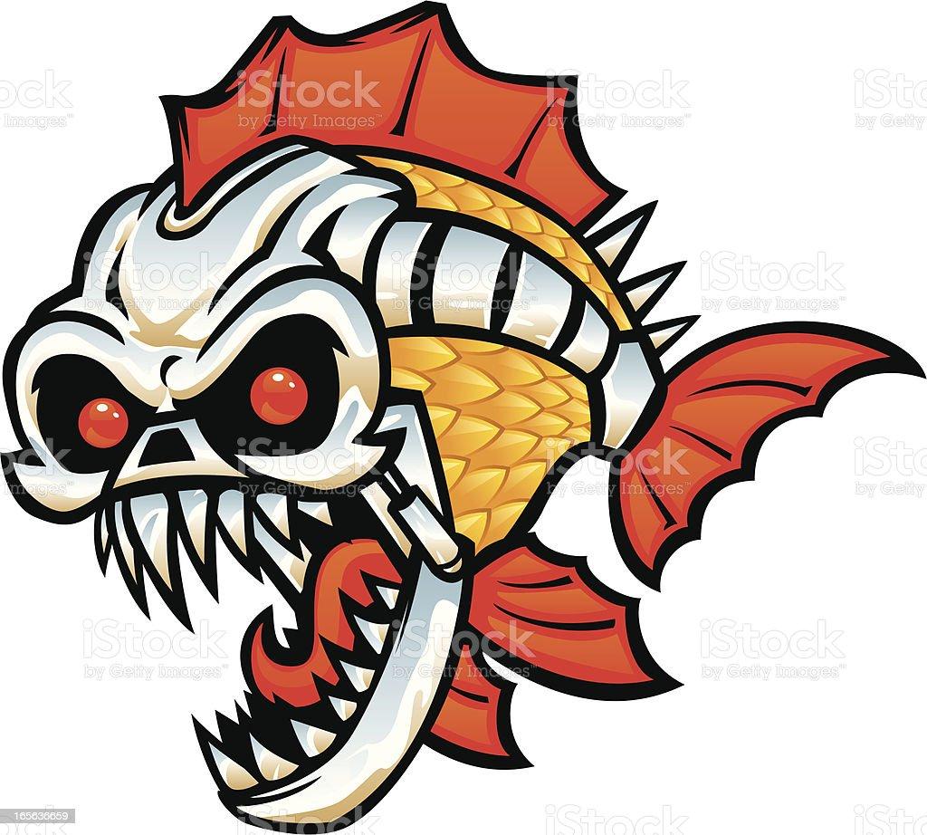 cyborg fish vector art illustration