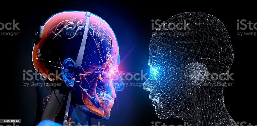 Cyborg vs Virtual Man vector art illustration