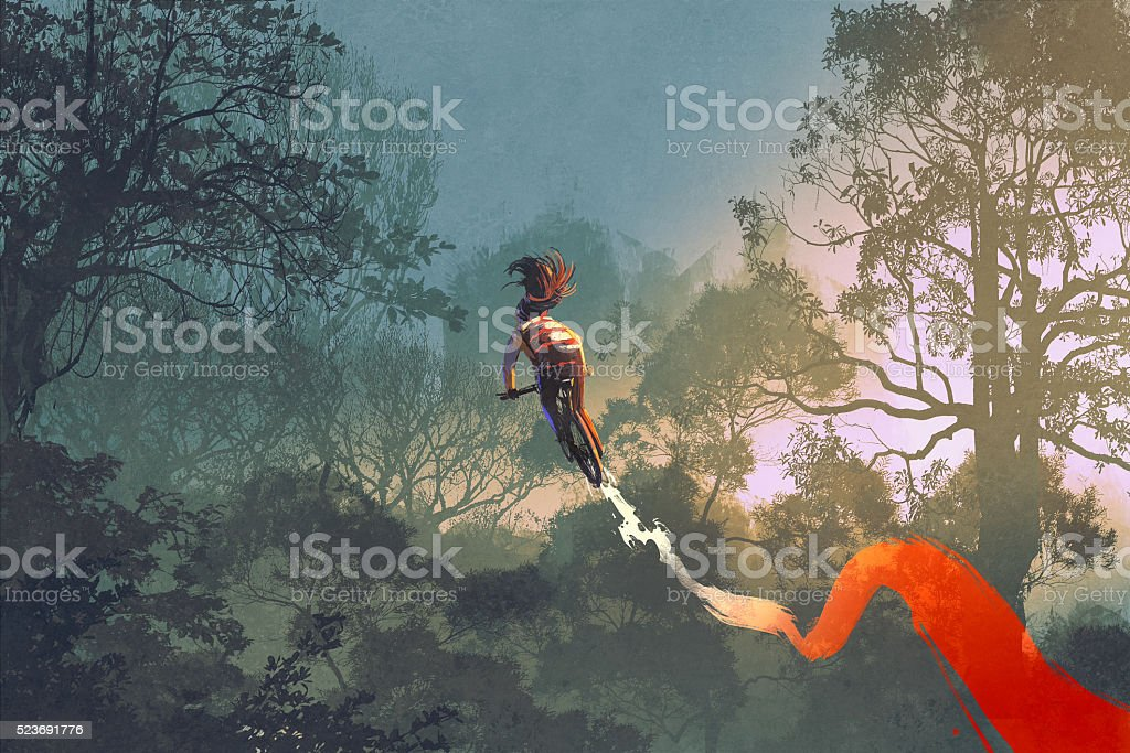cyclist riding a bike with tire track in the air vector art illustration