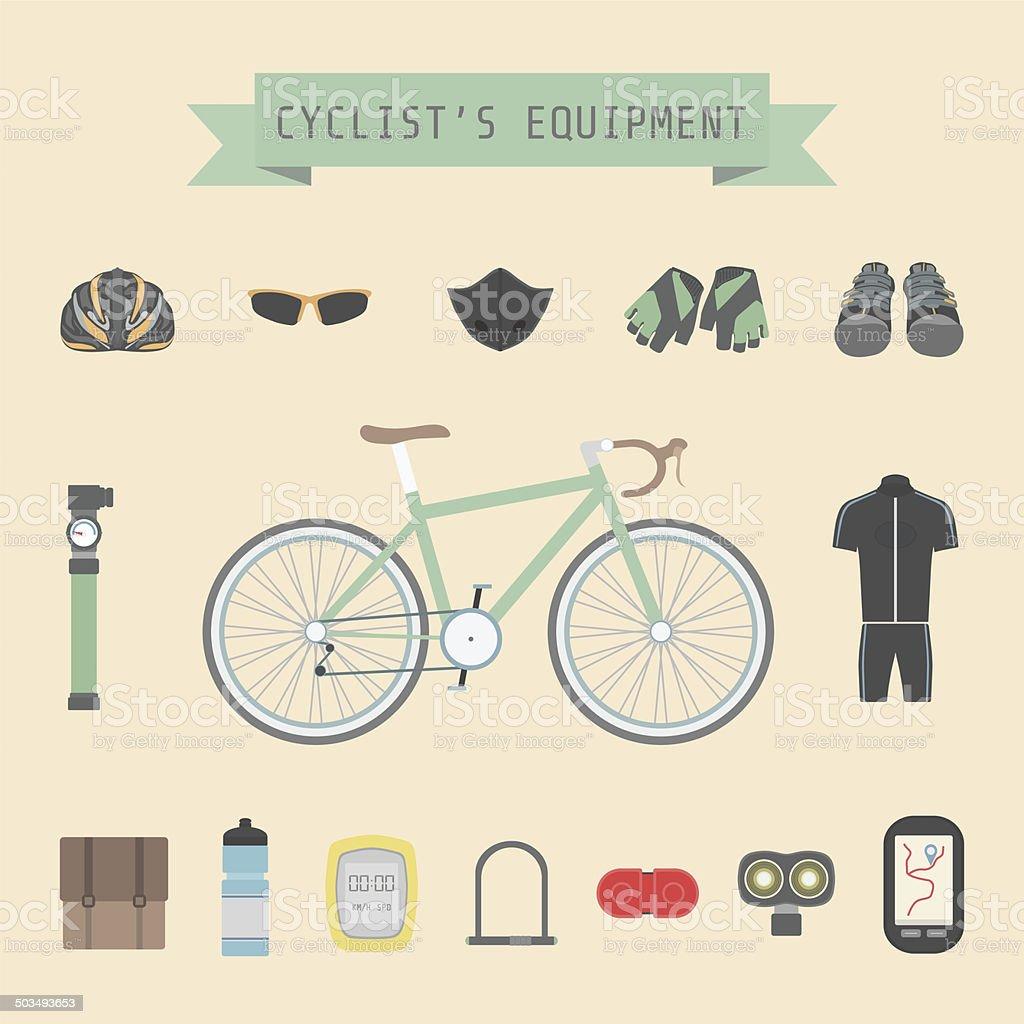 cyclist's gear vector art illustration