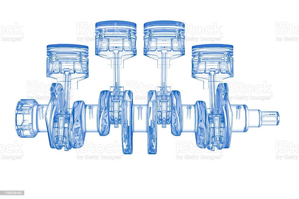 Cylinder crank (3D xray blue transparent on white) vector art illustration