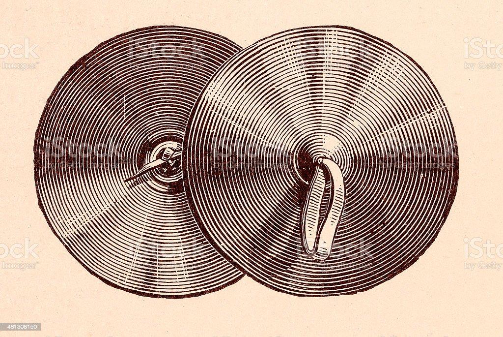 Cymbals music instruments vector art illustration