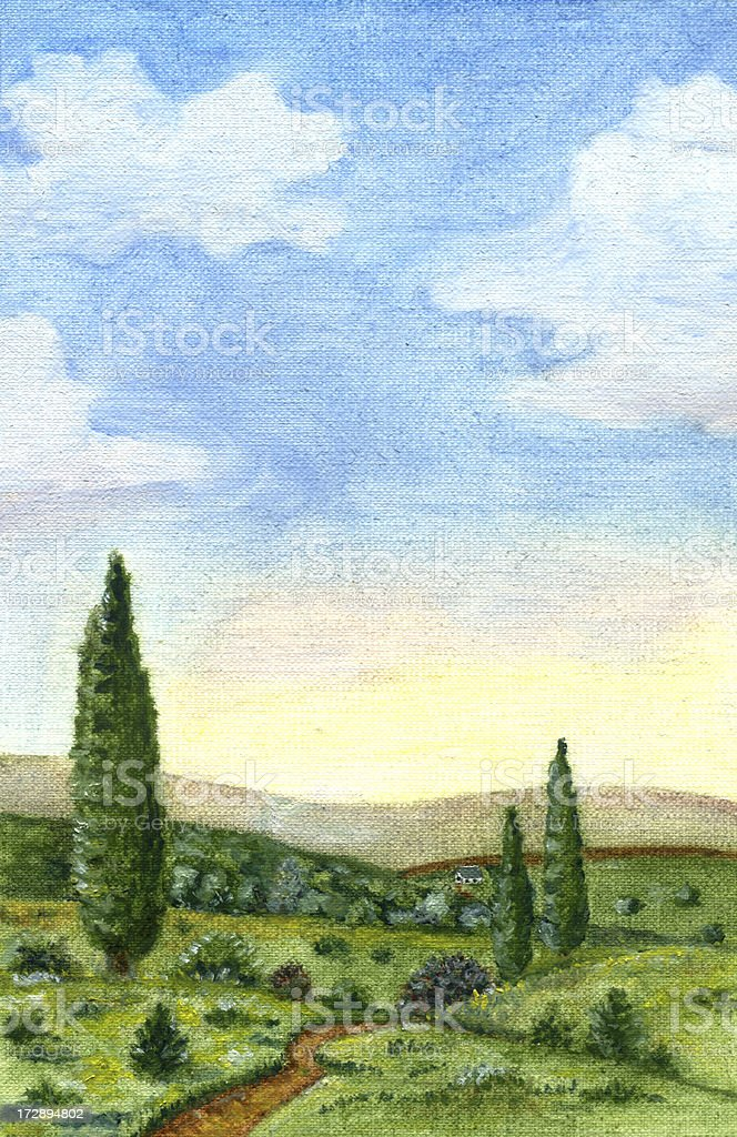 Cypresses and hills royalty-free stock vector art