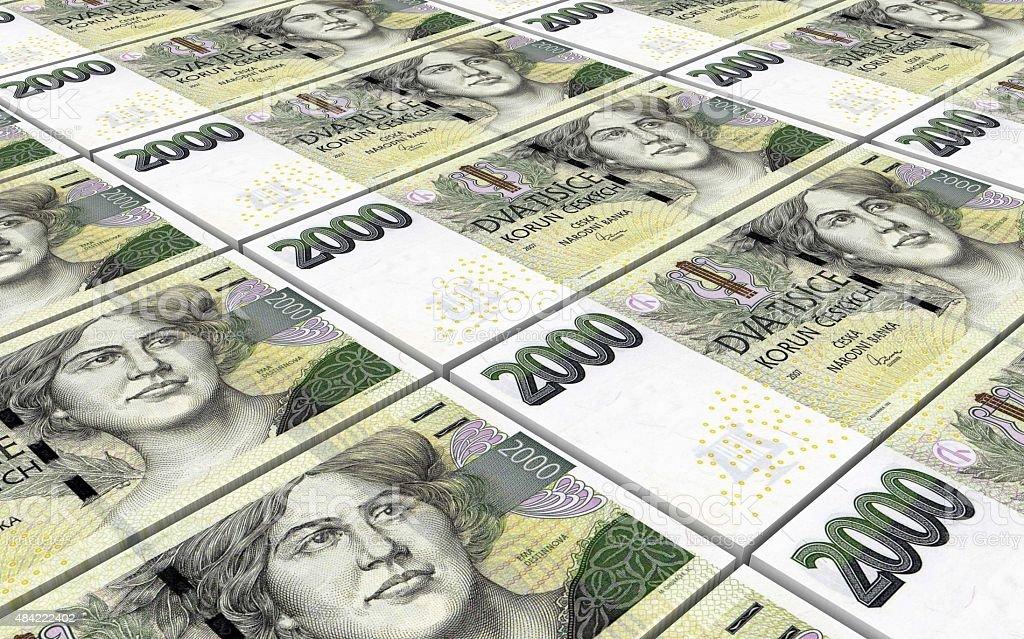 Czech koruna bills stacks background. vector art illustration