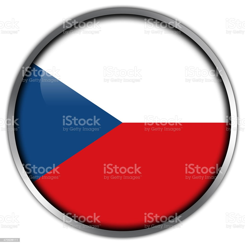 Czech Republic Flag glossy button royalty-free stock vector art