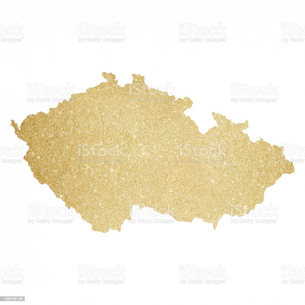 Czech Republic gold glitter map vector art illustration