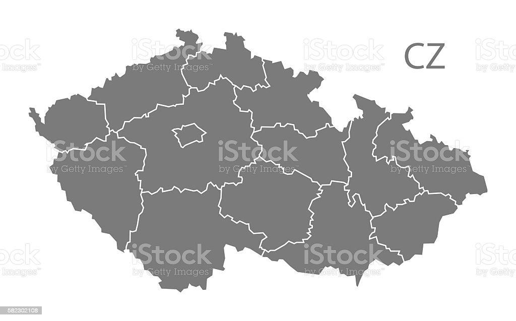 Czech Republic regions Map grey vector art illustration