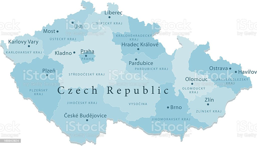 Czech Republic Vector Map Regions Isolated royalty-free stock vector art