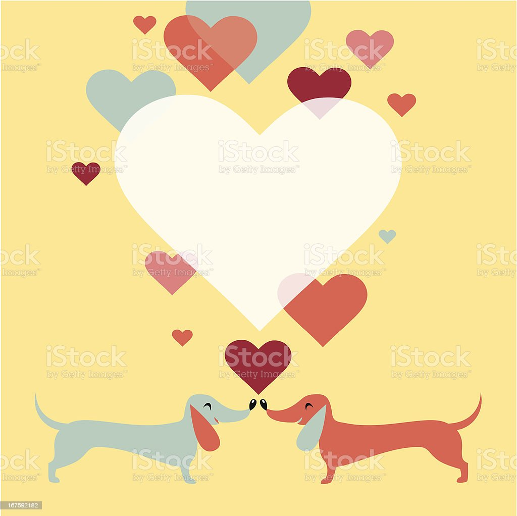 Dachshund dogs love vector art illustration