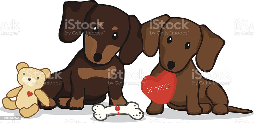 Dachshund with Valentine's Presents royalty-free stock vector art