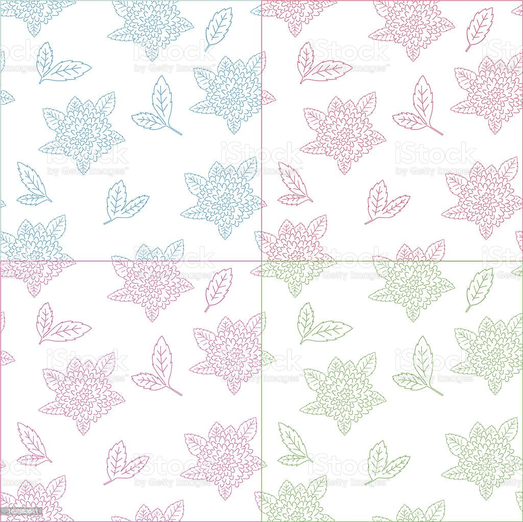dahliaflowers; seamless pattern with leafs. royalty-free stock vector art