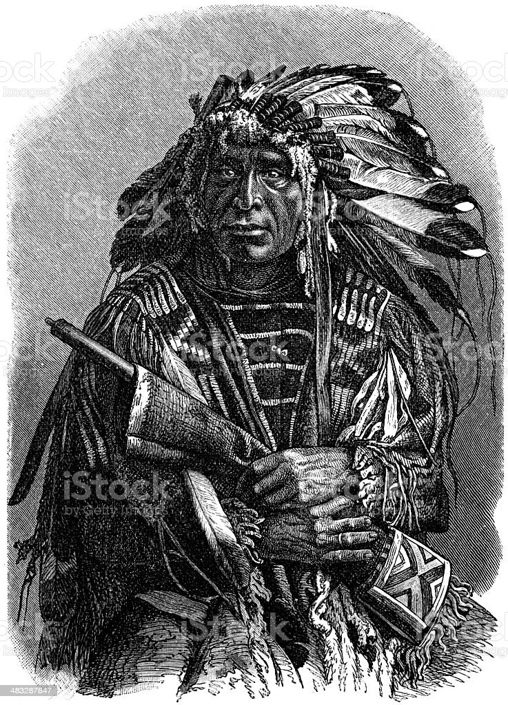 Dakota Chief royalty-free stock vector art