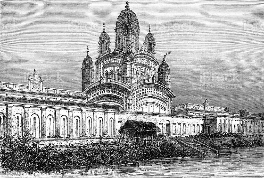 Dakshineswar Kali Temple vector art illustration
