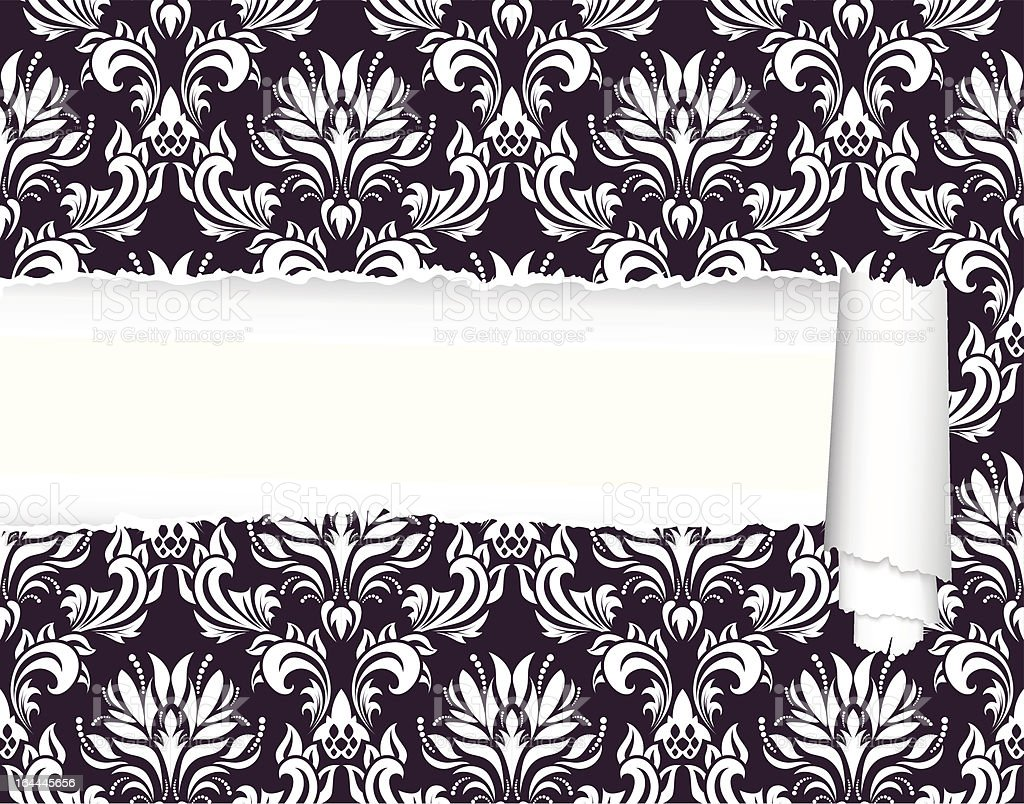 damask pattern with ripped copy-space royalty-free stock vector art