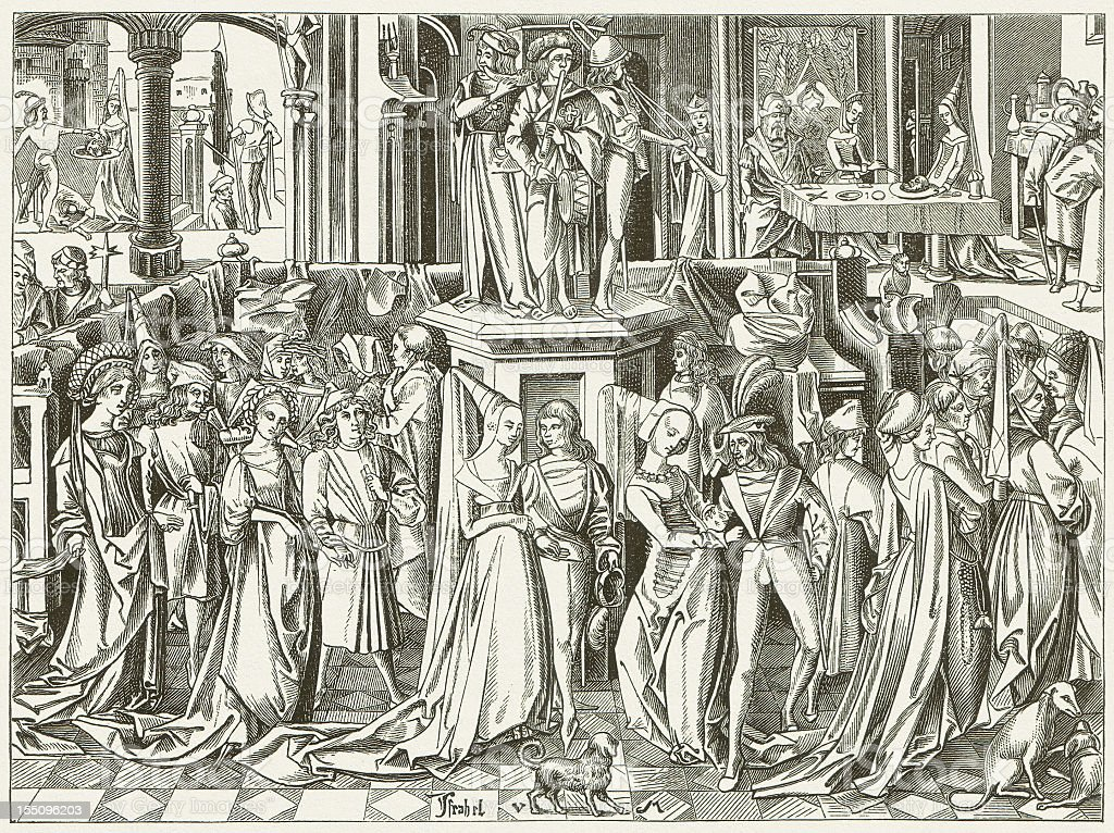 Dance at the Court of Herod (c.1500), publihed in 1880 royalty-free stock vector art