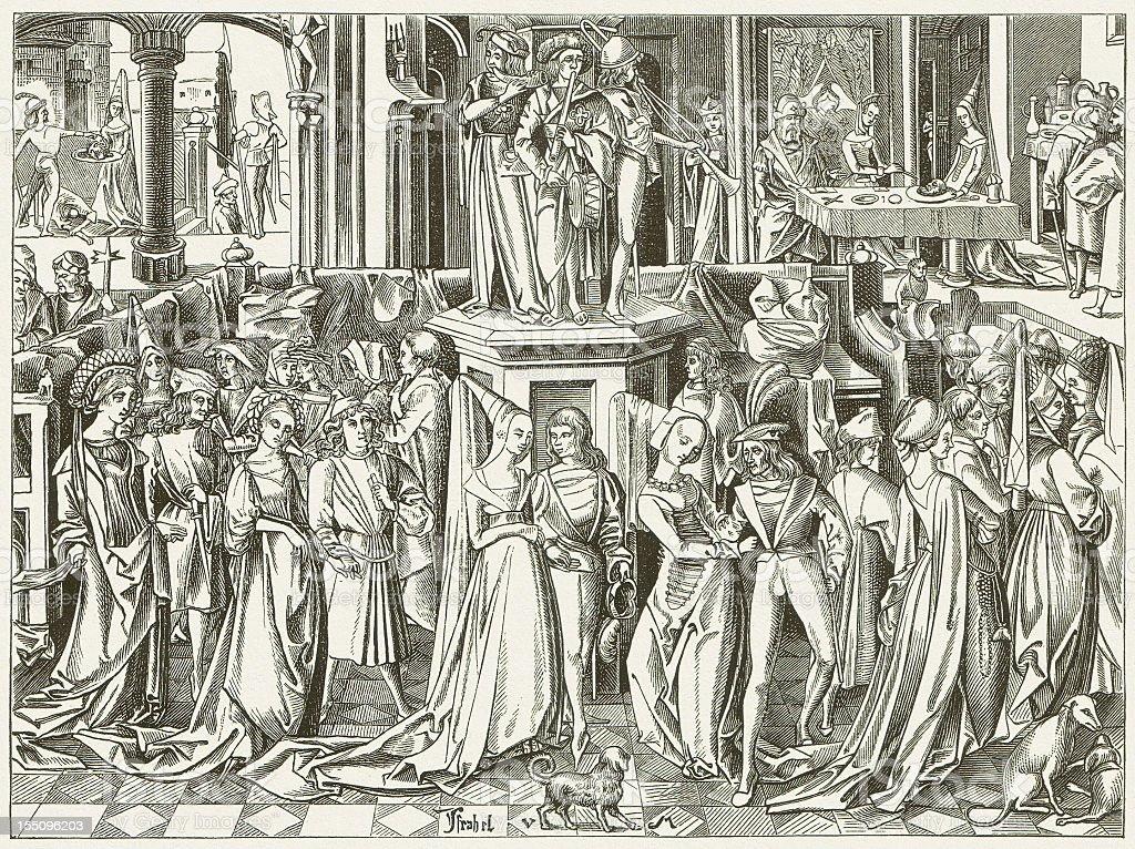 Dance at the Court of Herod (c.1500), publihed in 1880 vector art illustration