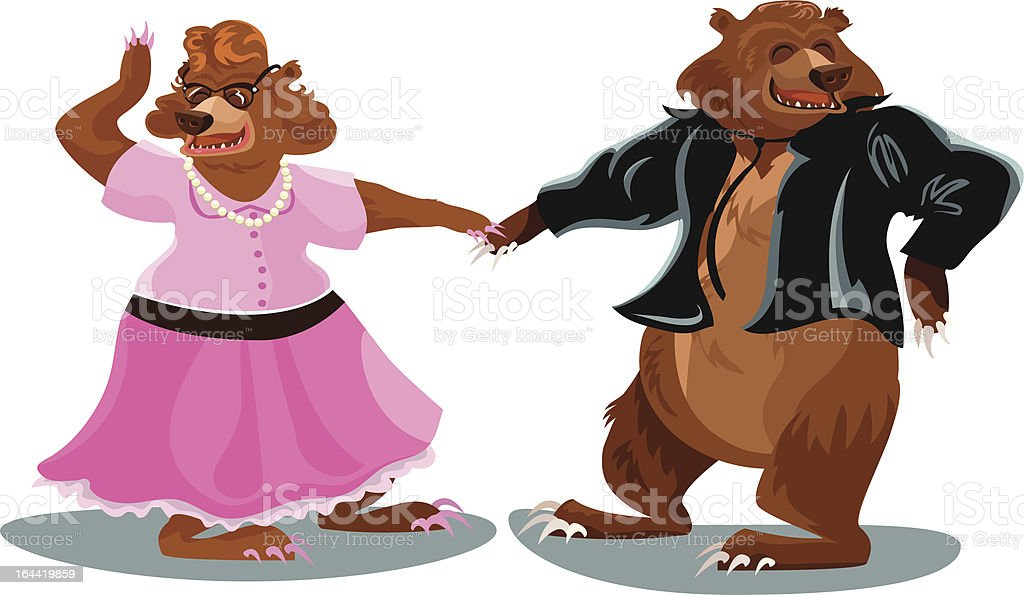 Dancing Bears vector art illustration
