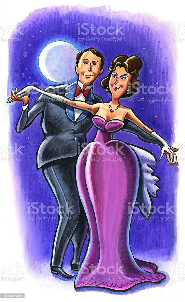 Dancing Couple in Moonlight - Heterosexual royalty-free stock vector art