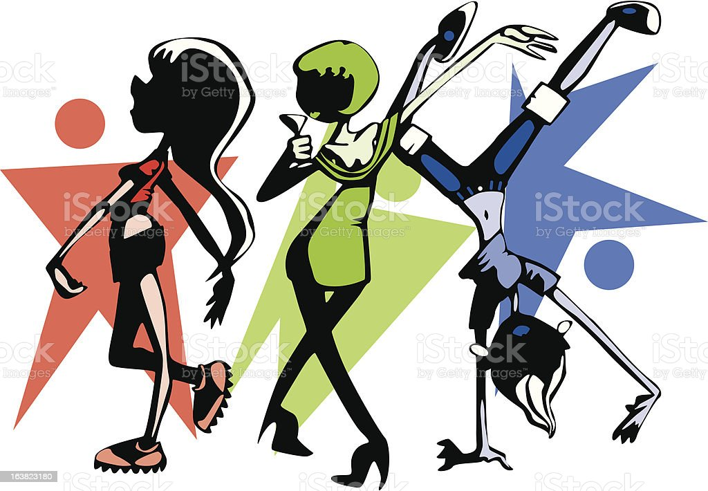 Dancing Girls royalty-free stock vector art
