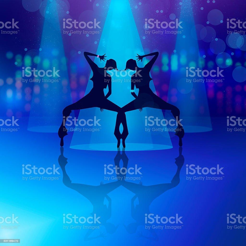 Dancing girls silhouette illustration. vector art illustration