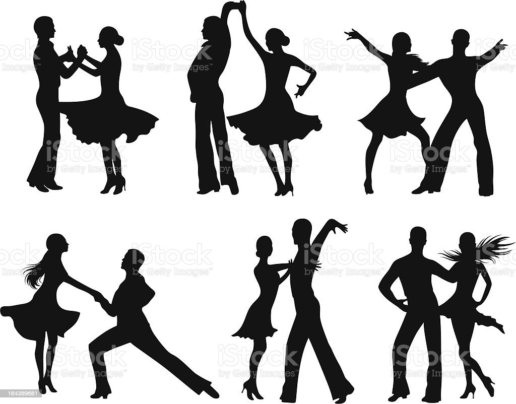 Dancing silhouettes. vector art illustration
