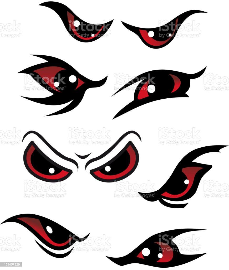 Danger eyes vector art illustration