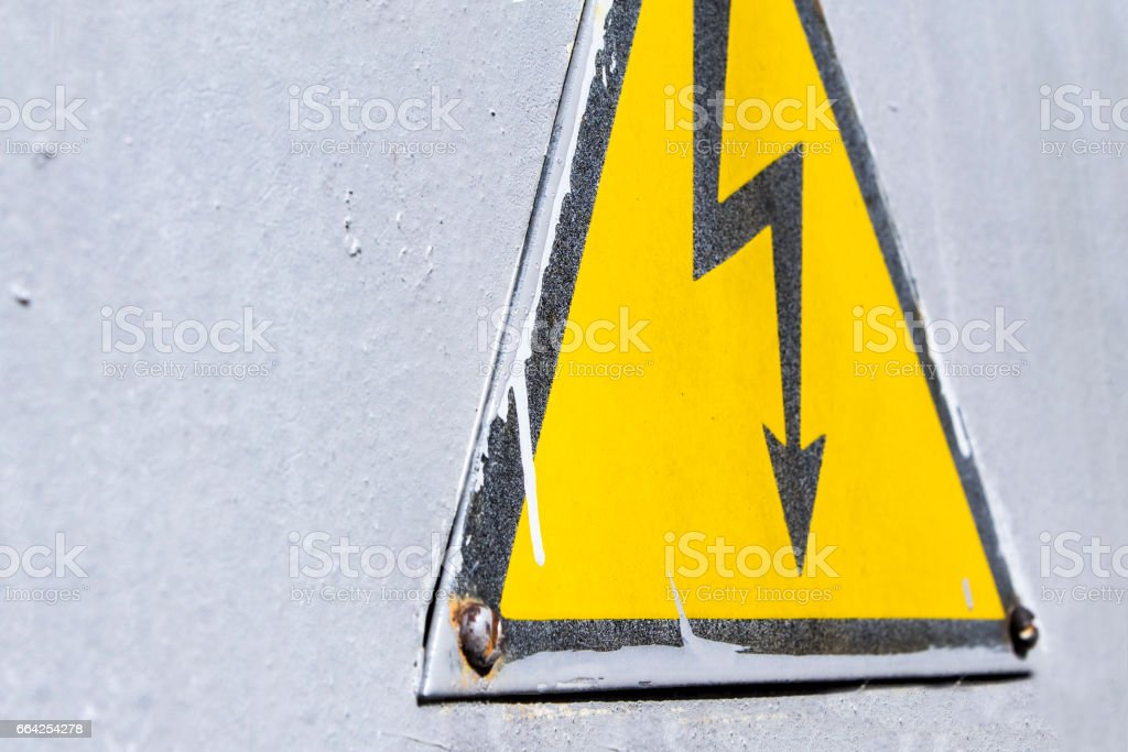 Danger of electrocution sign stock photo