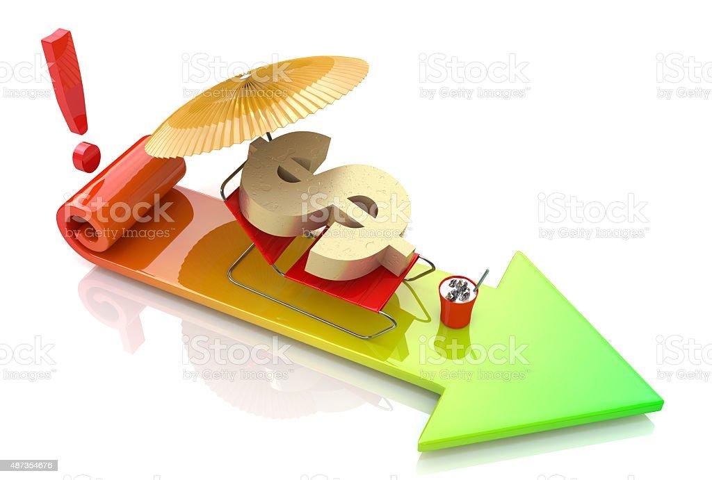 Danger of the dollar. The concept of financial risk vector art illustration
