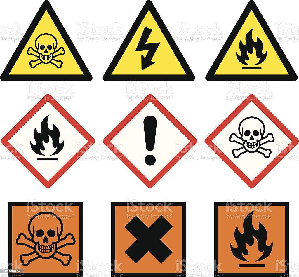 Danger Signs vector art illustration
