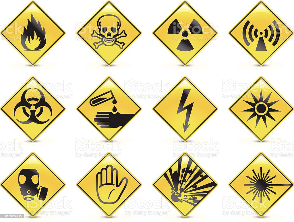 Danger symbols vector art illustration