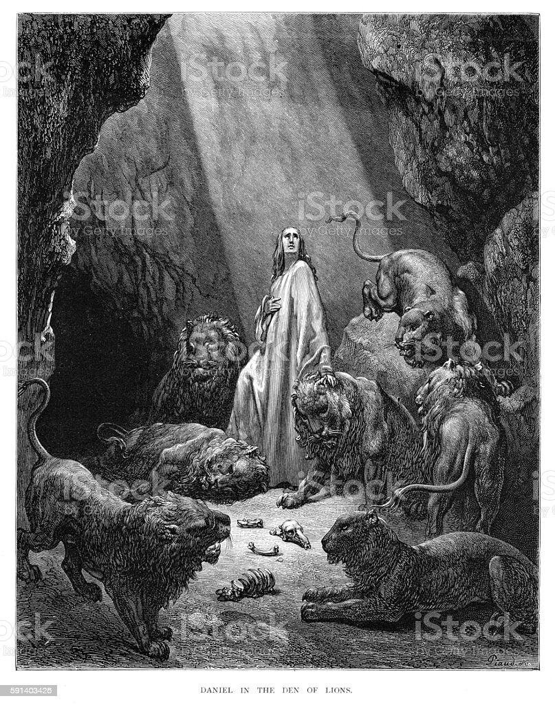 Daniel in the dean of lions engraving 1870 vector art illustration