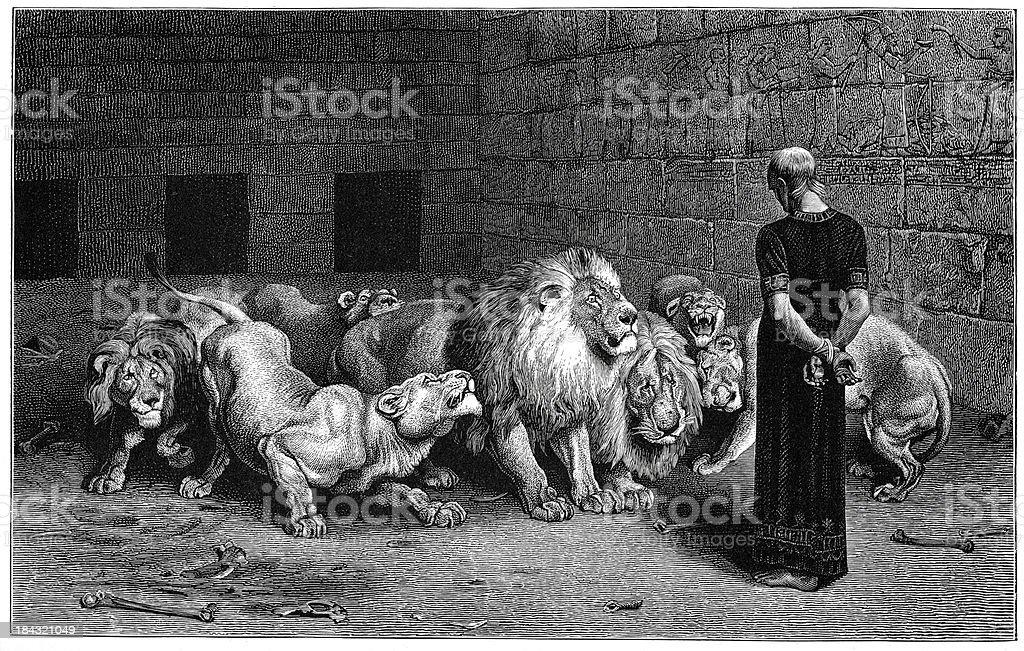 Daniel in the Lions Den royalty-free stock vector art