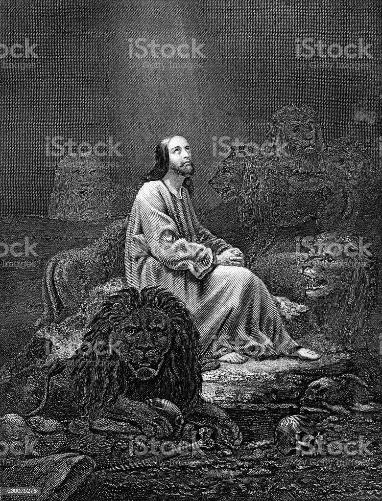 Daniel in the Lions Den vector art illustration