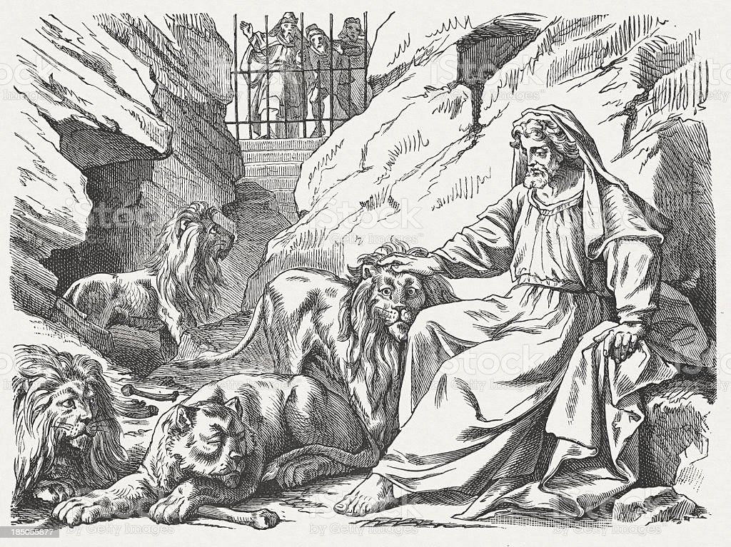 Daniel in the lions den, wood engraving, published in 1877 vector art illustration