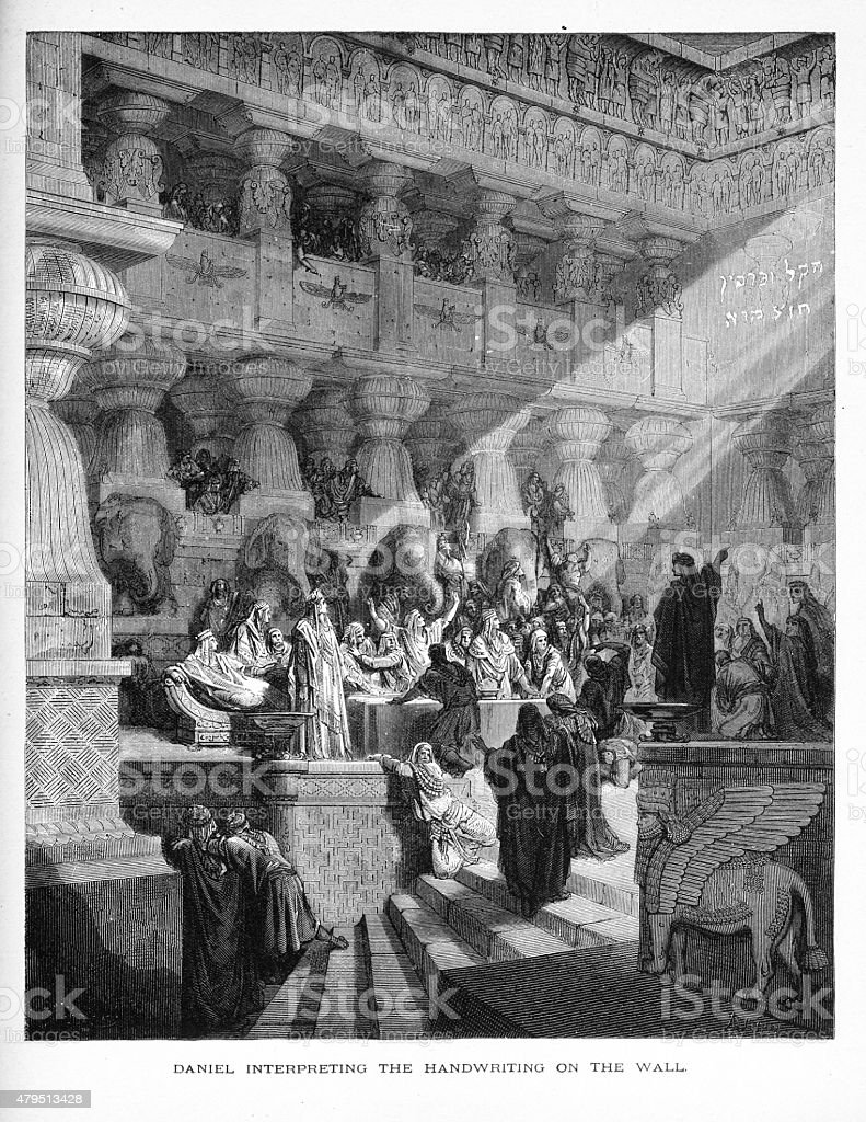 Daniel Interpreting the Handwriting on the Wall Biblical Engraving vector art illustration