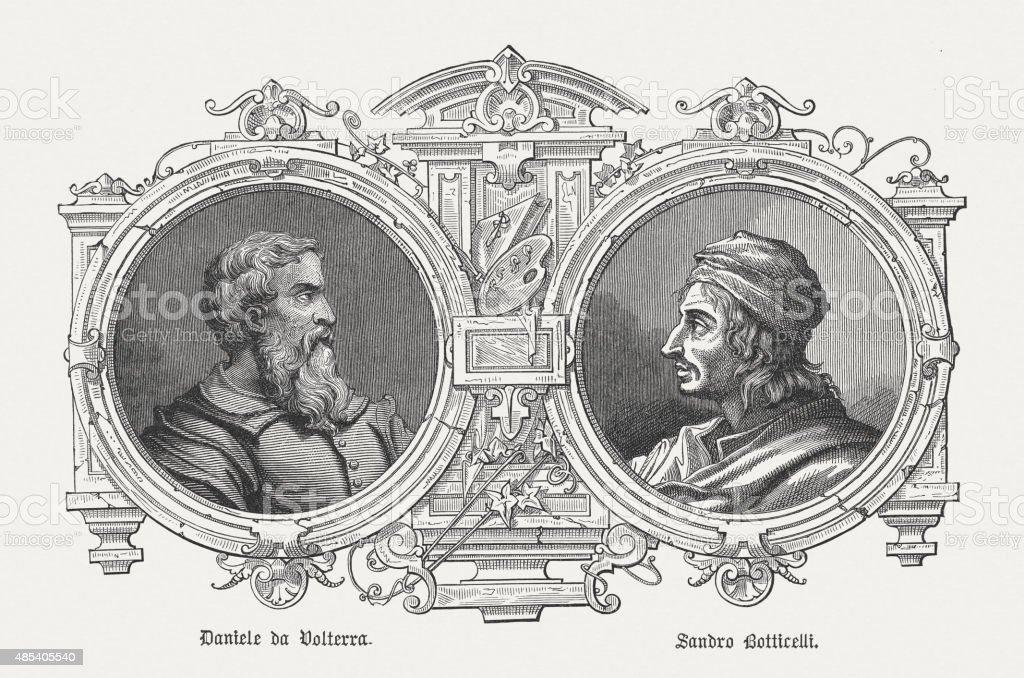 Daniele da Volterra and Bottecelli, Italian painters of renaissance vector art illustration