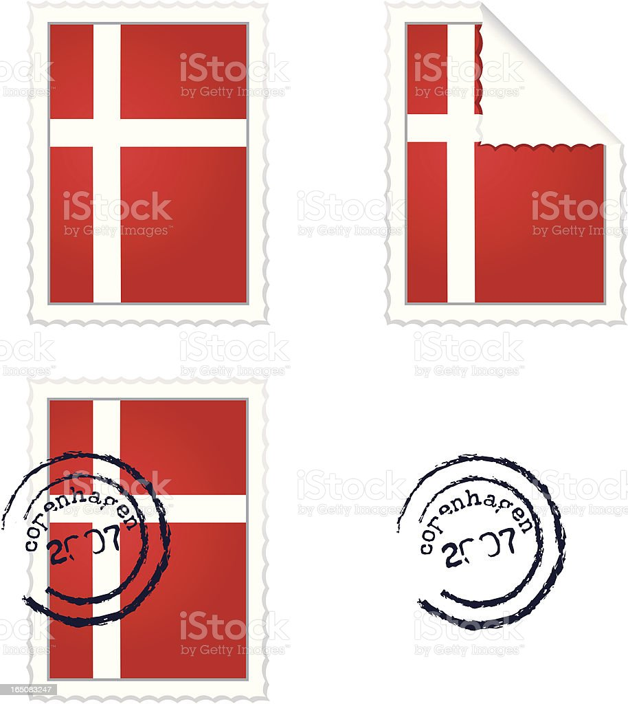 Danish Flag Stamp Set royalty-free stock vector art