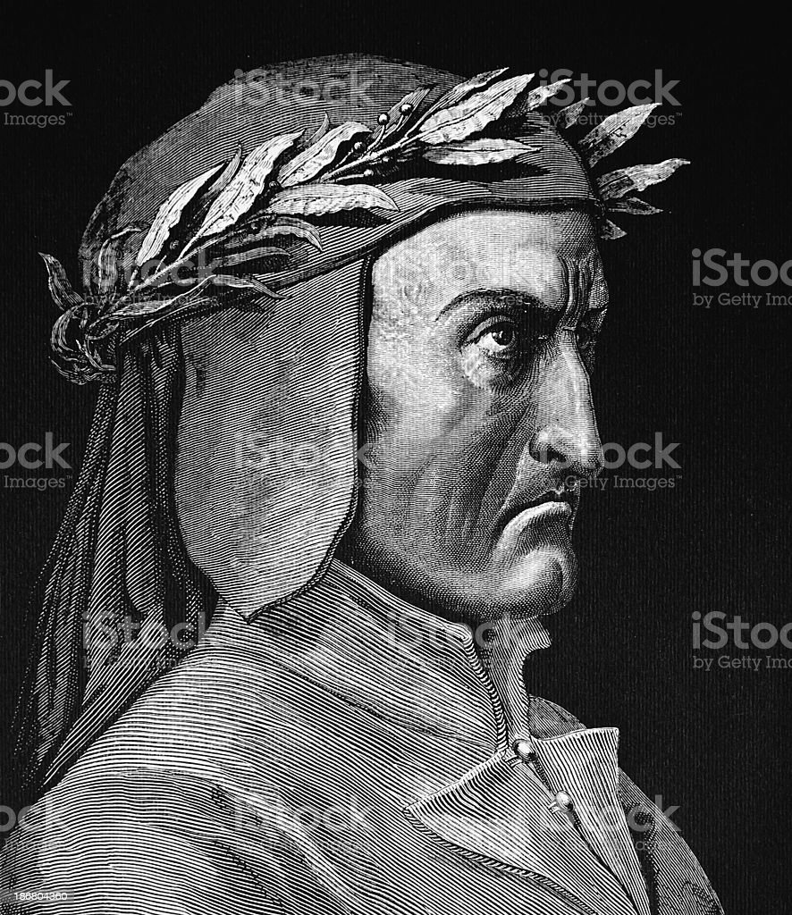 Dante Alighieri, Divine Comedy, Poet, vector art illustration