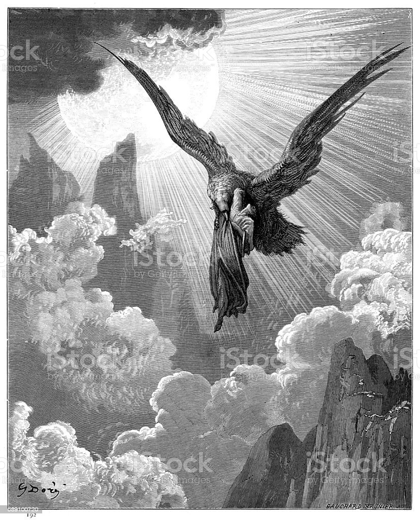 Dante and the eagle engraving 1870 vector art illustration