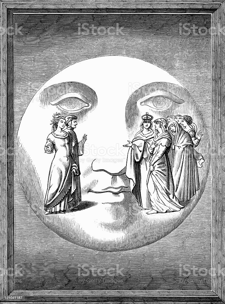 Dante on Face of Moon in Surreal Medieval Engraving vector art illustration